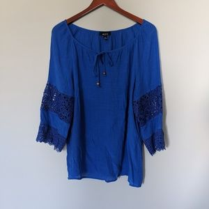 AlyX Royal Blue Gorgeous Lace Sleeves